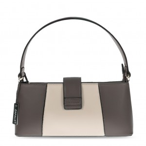 Women's PU Leather Elegant Grab Bag - Dark Beige