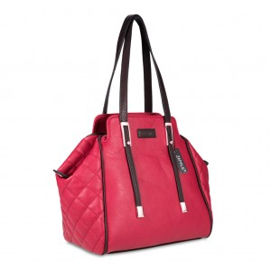 Women's PU Leather Shoulder bag with Quilted detail - Red