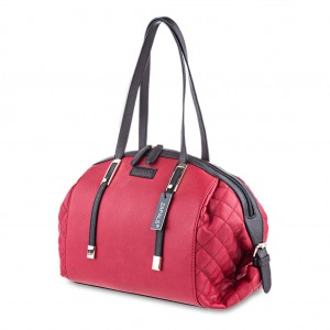 Pebble Quilted Dome Shaped Handbag Shoulder Bag Tote - Red