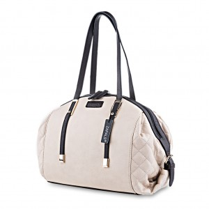 Pebble Quilted Dome Shaped Handbag Shoulder Bag Tote - Cream