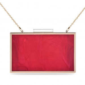 Women's Box Clutch for Evening Party - Red