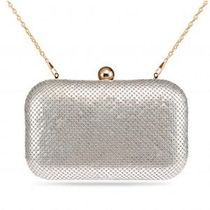 Women's Box Clutch Sparkling Mesh Evening Bag for Party - Silver