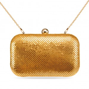 Women's Designer Box Clutch Sparkling Mesh Evening Bag for Party - Gold