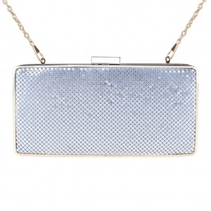 Zapals Designer Box Clutch Sparkling Mesh Evening Bag for Party - Silver