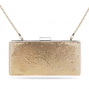 Women's Box Clutch Sparkling Mesh Evening Bag for Party - Gold