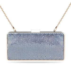 Women's Designer Box Clutch Sparkling Mesh Evening Bag for Party - Light Cool Gray