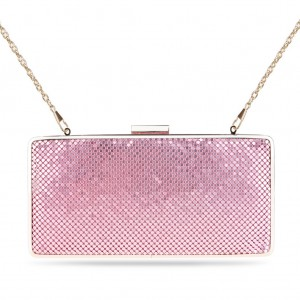 Women's Designer Box Clutch Sparkling Mesh Evening Bag for Party - Pale Pink