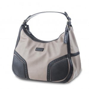 Contrast Trim Pebble Leather Hobo Bag Handbag- Gray