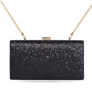Women's Box Clutch Bag Shimmer Paillette Evening Bag - Black