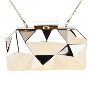 Box Clutch Bag Metallic Mirror 3D Sculpted - Gold