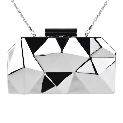 Designer Box Clutch Bag Metallic Mirror 3D Sculpted - Silver