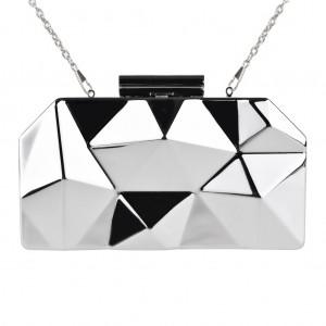Designer Box Clutch Bag Metallic Mirror 3D Sculpted - Silver