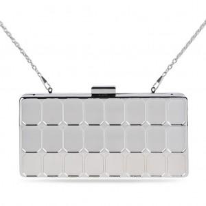 Women's Designer Box Clutch Bag Metallic Mirror Women's Evening Bag - Silver