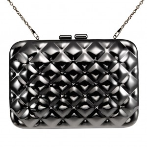 Women's Designer Box Clutch Bag Rhombus Metallic Mirror Hard Case - Black