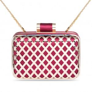 Women's Designer Fashion Box Clutch Metallic Gilded Hollow-out Lattice Hard Case - Burgundy
