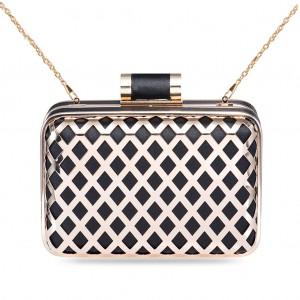 Women's Designer Fashion Box Clutch Metallic Gilded Hollow-out Lattice Hard Case - Black
