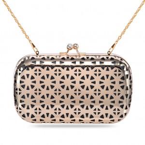 Women's Designer Box Clutch Metallic Hollow-out Hard Case - Black