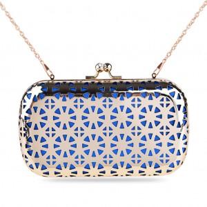 Women's Designer Box Clutch Metallic Hollow-out Hard Case - Blue