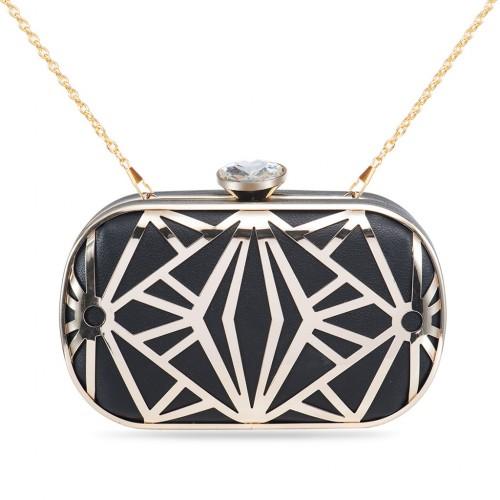 Women's Designer Box Clutch Geometrical Metallic Hollow-out Hard Case - Black