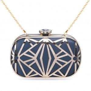 Women's Designer Box Clutch Geometrical Metallic Hollow-out Hard Case - Teal