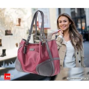 Women's Two-Tone Pebble Leather Shoulder Bag - Burgundy