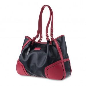 Women's Two-Tone Pebble Leather Shoulder Bag - Black