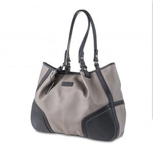 Women's Two-Tone Pebble Leather Shoulder Bag - Gray