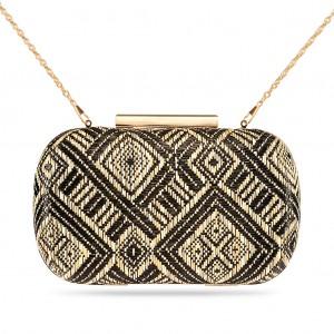 Women's Box Clutch Geometric Woven Hard Case-Black