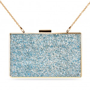 Women's Designer Box Clutch Sparkling Paillette Evening Bag - Light Blue