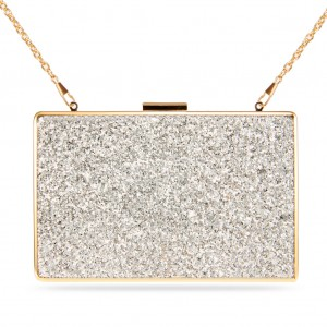 Women's Designer Box Clutch Sparkling Paillette Evening Bag - Sliver