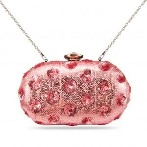 Women's Designer Box Clutch Shimmer Paillette Evening Bag-Pale Pink