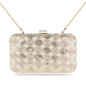 Ladies' Zapals Designer Box Clutch Evening Bag with Roses Sequins - Beige
