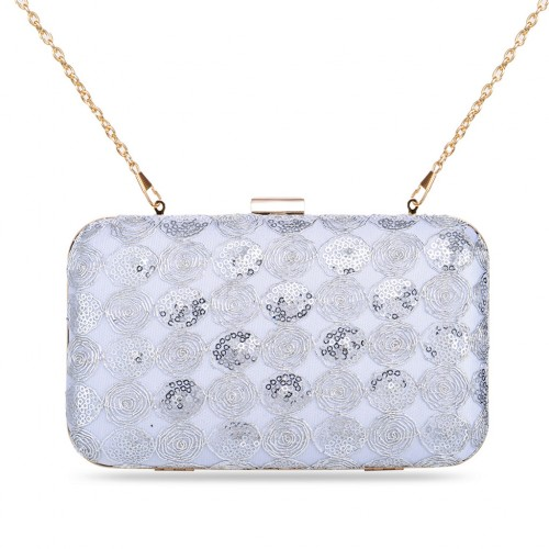 Ladies' Zapals Designer Box Clutch Evening Bag with Roses Sequins - Silver
