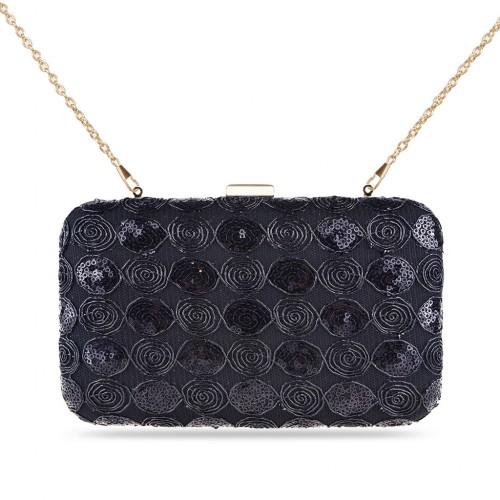 Ladies' Zapals Designer Box Clutch Evening Bag with Roses Sequins - Black