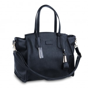 Winged Pebble Leather Tote Grab Bag w/handle - Black