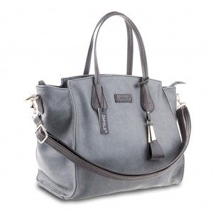 Winged Pebble Leather Long Handles Shoulder Bag Large Tote Grab Bag - Gray