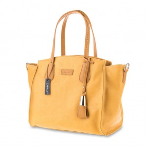 Winged Pebble Leather Tote Grab Bag w/handle - Yellow