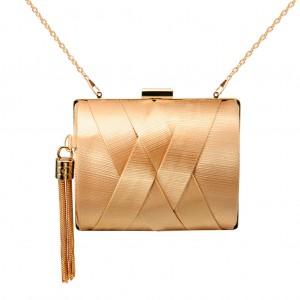 Women's Zapals Designer Box Clutch Satin Tassel Evening Clutch Bag - Sand