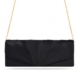 Women's Zapals Designer Envelope Clutch Bag with Pleated Satin - Black