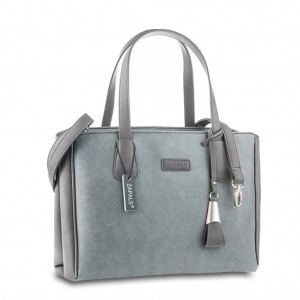 Pebbled PU Leather Shoulder Tote Hand Bag with Double Handles - Cool Gray