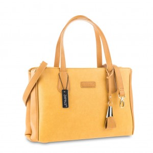 Pebbled PU Leather Shoulder Tote with Double Handles - Yellow