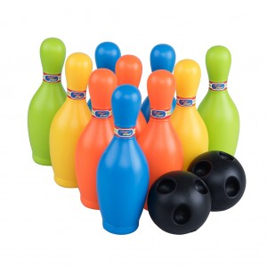 Kids Skittle Bowling Toy Set with 10 Colorful Pins Party Game