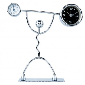 Stainless Steel Metal Art Desk Clock Table Alarm  -Weightlifter Design