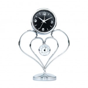 Stainless Steel Metal Art Alarm Table Desk Clock-Flower Design