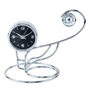 Metal Art Alarm Table Desk Clock-Swan Design
