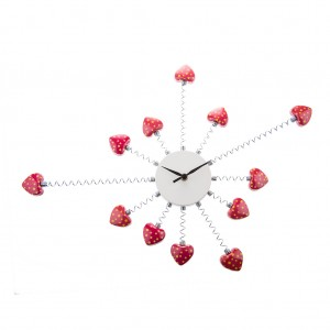 Stainless Steel Red-Heart Metal Modern Wall Clock Art Home Decor