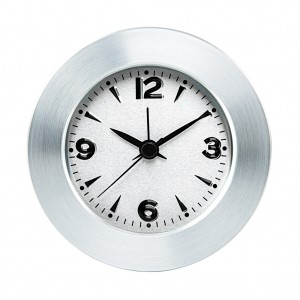 Silver-Tone Metal Round Table Clock aluminum - Silver color