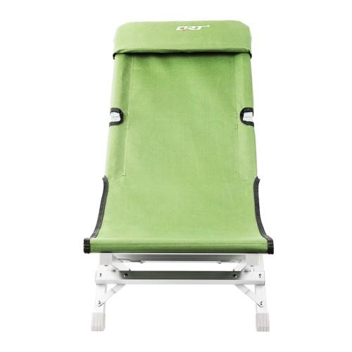 Deluxe Aluminum Folding Outdoor Recliner Chair Camping Gear - Green