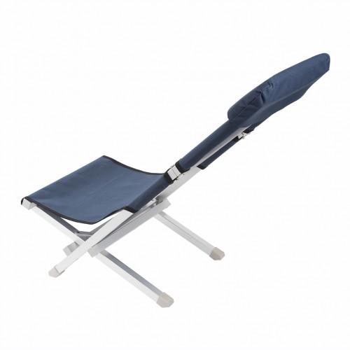 Deluxe Aluminum Folding Outdoor Recliner Chair Camping Gear - Navy