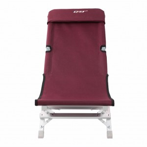 Deluxe Aluminum Folding Outdoor Recliner Chair Camping Gear - Mahogany